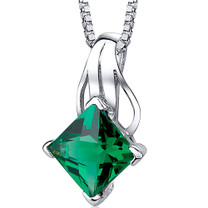 Sensational Glamour: Sterling Silver 2.00 carats Princess Emerald Pendant with 18 inch Chain Style SP10744