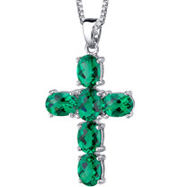 Radiant Glory: Sterling Silver 4.50 carats Oval Shape Emerald Cross Pendant with 18 inch chain Style SP10746