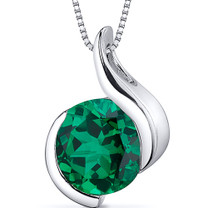 Stunning Sophistication 1.75 carats Round Shape Sterling Silver Emerald Pendant Style SP10750