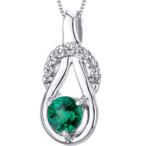 Elegant Glamour 0.50 carats Round Cut Sterling Silver Emerald Pendant with 18 inch Chain Style SP10754