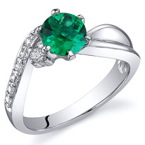 Ethereal Curves 0.75 carats Emerald Ring in Sterling Silver Available Sizes 5 to 9 Style SR10800