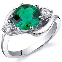 3 Stone Design 1.75 carats Emerald Ring in Sterling Silver Available Sizes 5 to 9 Style SR10802
