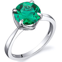 Sublime Solitaire 1.75 Carats Emerald Ring in Sterling Silver Available Sizes 5 to 9 Style SR10808