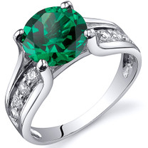 Solitaire Style  1.75 carats Emerald Ring in Sterling Silver Available in Sizes 5 to 9  Style SR10820