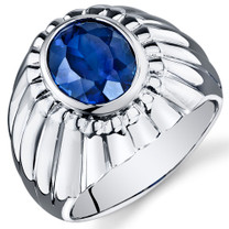 Mens Bezel Set 5.50 Carats Oval Cut Blue Sapphire Sterling Silver Ring Sizes 8 To 13 SR10914