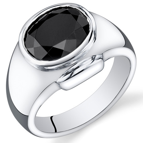 10.50 Cts Black Onyx 925 Sterling Silver Ring Oval Shape  SR203