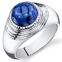 Mens 6.50 Carats Round Cabochon Blue Sapphire Sterling Silver Ring Sizes 8 To 13 SR10928
