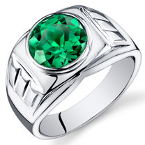 Mens 4.50 Carats Round Cut Emerald Sterling Silver Ring Sizes 8 To 13 SR10938