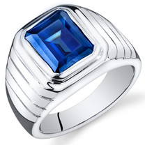 Mens 6.50 Carats Octagon Cut Blue Sapphire Sterling Silver Ring Sizes 8 To 13 SR10940