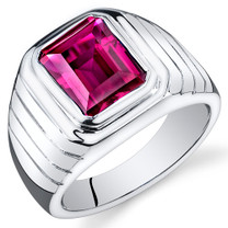 Mens 6.00 Carats Octagon Cut Ruby Sterling Silver Ring Sizes 8 To 13 SR10942