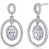 Sterling Silver Oval White Cubic Zirconia Earrings SE8286