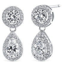 Sterling Silver Round and Pear White Cubic Zirconia Earrings SE8290