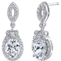 Sterling Silver Oval White Cubic Zirconia Earrings SE8294