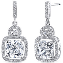 Sterling Silver Cushion and Round White Cubic Zirconia Earrings SE8296
