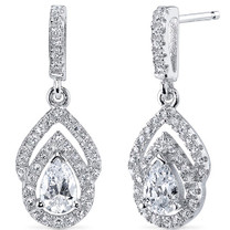 Sterling Silver Pear White Cubic Zirconia Earrings SE8304