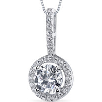 Sterling Silver Round White Cubic Zirconia Pendant Necklace SP10852