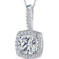 Sterling Silver Cushion White Cubic Zirconia Pendant Necklace SP10854