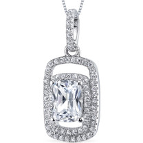Sterling Silver Radiant White Cubic Zirconia Pendant Necklace SP10858