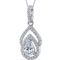 Sterling Silver Pear White Cubic Zirconia Pendant Necklace SP10860