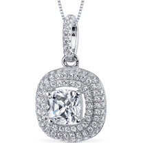 Sterling Silver Cushion White Cubic Zirconia Pendant Necklace SP10864