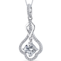 Sterling Silver Cushion cubic zirconia Pendant Necklace SP10866
