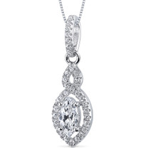 Sterling Silver Marquise White Cubic Zirconia Pendant Necklace SP10868
