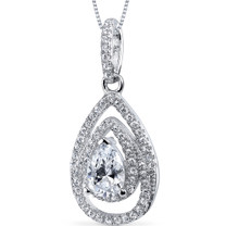 Sterling Silver Pear White Cubic Zirconia Pendant Necklace SP10874