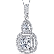 Sterling Silver Cushion and Pear White Cubic Zirconia Pendant Necklace SP10876