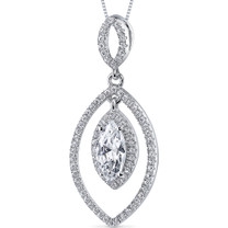 Sterling Silver Marquise White Cubic Zirconia Pendant Necklace SP10880