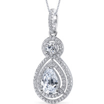 Sterling Silver Pear White Cubic Zirconia Pendant Necklace SP10882