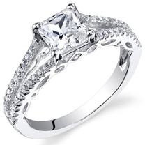 Sterling Silver Princess White Cubic Zirconia Ring SR10970