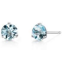 14 Kt White Gold Round Cut 1.50 ct Aquamarine Earrings E18442