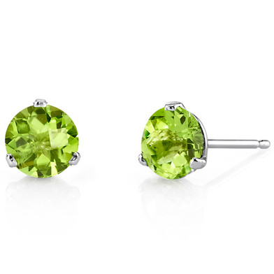 14 Kt White Gold Round Cut 1.75 ct Peridot Earrings E18452