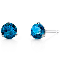 14 Kt White Gold Round Cut 2.00 ct London Blue Topaz Earrings E18456