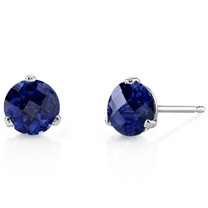 14 Kt White Gold Round Cut 2.25 ct Blue Sapphire Earrings E18460