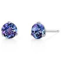 14 Kt White Gold Round Cut 2.25 ct Alexandrite Earrings E18464