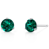 14 Kt White Gold Round Cut 1.50 ct Emerald Earrings E18466