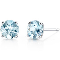 14 kt White Gold Round Cut 1.50 ct Aquamarine Earrings E18468