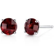14 kt White Gold Round Cut 2.25 ct Garnet Earrings E18472