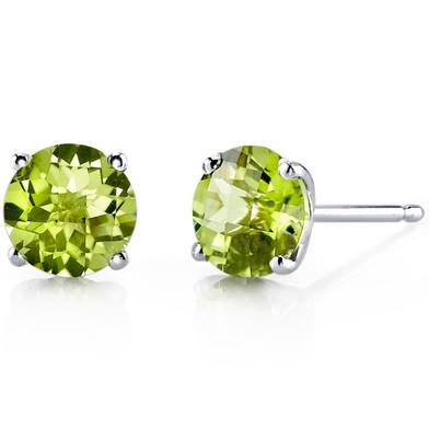 14 kt White Gold Round Cut 1.75 ct Peridot Earrings E18478