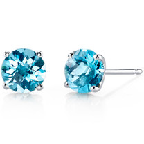 14 kt White Gold Round Cut 2.00 ct Swiss Blue Topaz Earrings E18480