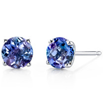 14 kt White Gold Round Cut 2.250 ct Alexandrite Earrings E18490