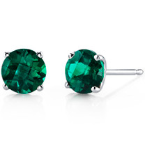 14 kt White Gold Round Cut 1.50 ct Emerald Earrings E18492