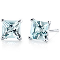 14 kt White Gold Princess Cut 1.75 ct Aquamarine Earrings E18494