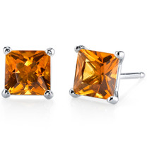 14 kt White Gold Princess Cut 2.00 ct Citrine Earrings E18500