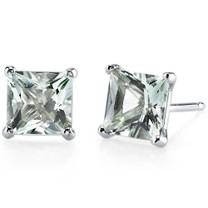 14 kt White Gold Princess Cut 2.00 ct Green Amethyst Earrings E18502