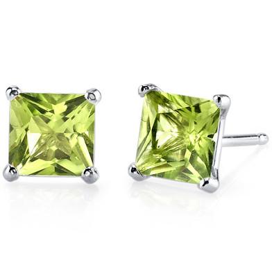 14 kt White Gold Princess Cut 2.00 ct Peridot Earrings E18504