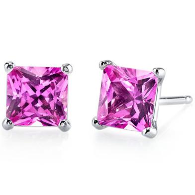 14 kt White Gold Princess Cut 3.00 ct Pink Sapphire Earrings E18514