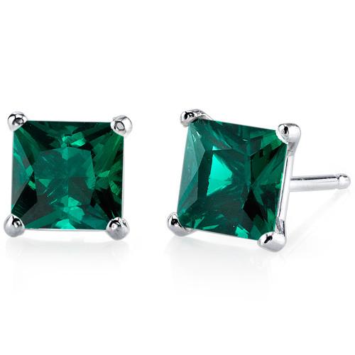 2.00ct 14K White Gold Princess Cut Emerald Earrings