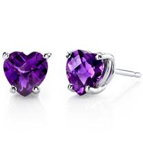 14 kt White Gold Heart Shape 1.50 ct Amethyst Earrings E18522